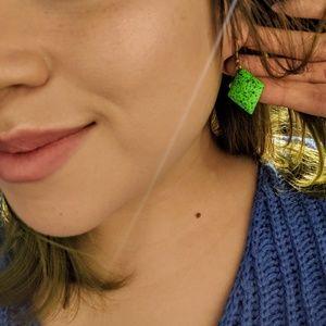 Green metal earrings